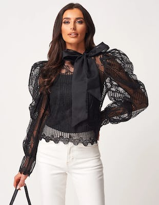 Black Statement Blouse with Tie Neck
