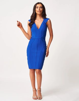 Blue Bandage Panelled Midi Dress