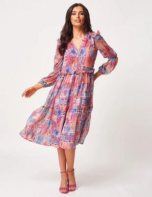 Peach Pattered Long Sleeve Floaty Midi Dress