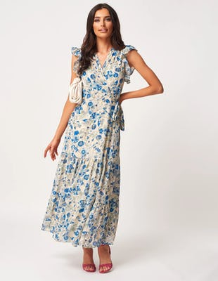 Blue and White Floral Midi Dress