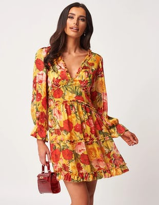 Yellow Floral Floaty Ruffle Mini Dress