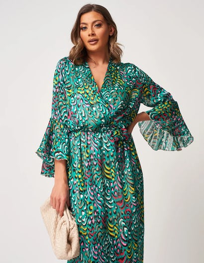 Green Multi-Coloured Printed Pleated Maxi Dress