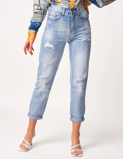 Blue Distressed Mid-Rise Straight Leg Jeans