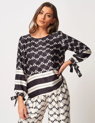 Black and White Multi-Pattern Round Neck Top