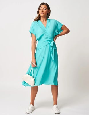 Turquoise Mock-Wrap Dress