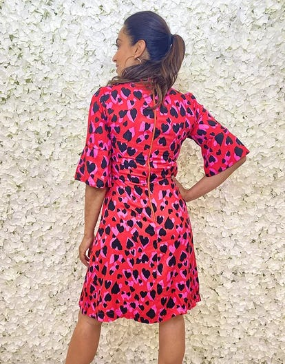 Red High Neck Mini Dress with Black and Pink Heart Print