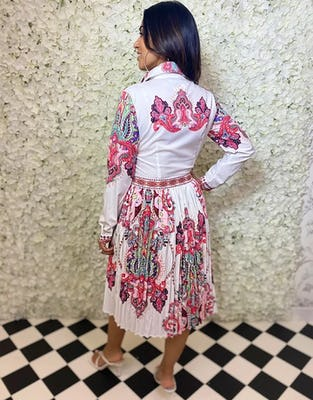 Multi-Colour Paisley Print White Midi Dress