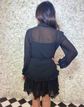Black Sheer Layered Dress with Frilled Panel Front