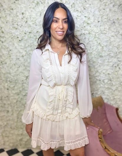 Cream Sheer Layered Dress with Frilled Panel Front