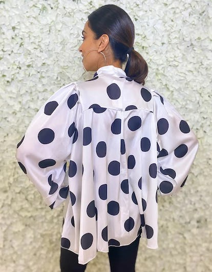Black and White Polka Dot Printed Blouse with Tie Neck