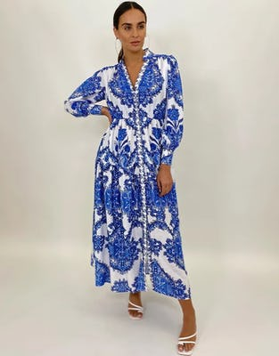 Blue & White Porcelain Print Maxi Dress