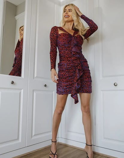Red and Navy Leopard Print Cut-Out Ruffle Dress