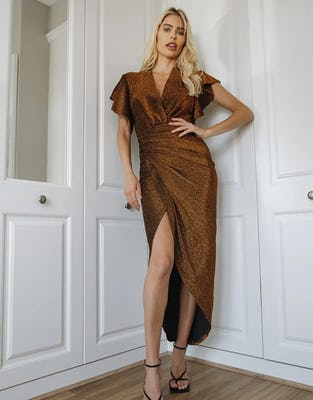 Bronze Metallic Ruched Front Asymmetric Midi Dress