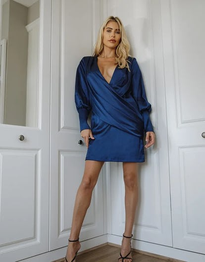 Navy Blue Long Sleeve Satin Draped Mini Dress