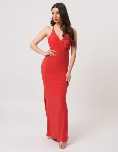 Coral Plunging Maxi Dress with Chain Detail