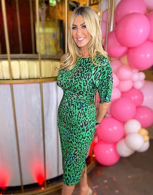 Green Fluro Leopard Print Midi Dress
