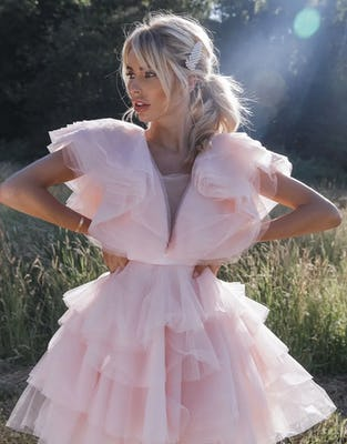 Soft Pink Ruffle Tulle Mini Dress