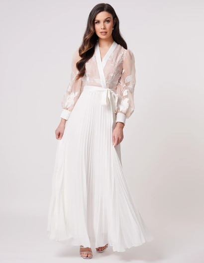 Ivory and Nude Pleated Long Sleeve Maxi Dress