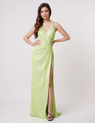 Lime Wrap Maxi Dress with Thigh Split