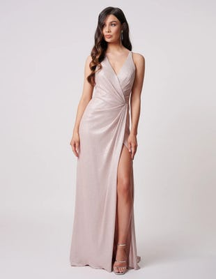 Soft Pink Wrap Halter Neck Maxi Dress with Thigh Split