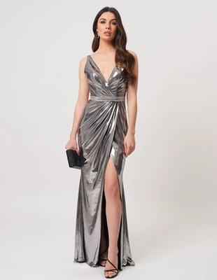 Silver Metallic Wrap Maxi Dress with Diamante Embellishments