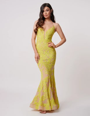 Lime Sequin Fishtail Maxi Dress