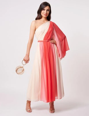 Coral Pleated One Sleeve Chiffon Maxi Dress