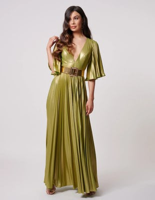 Lime Metallic Pleated Maxi Dress with Gold Belt