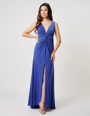 Navy Plunging Front Knot Maxi Dress
