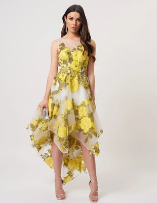 Lime Green Floral Mesh Asymmetric Skater Midi Dress