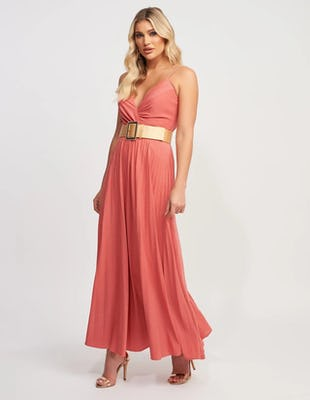 Coral Floaty Maxi Dress with Gold Belt