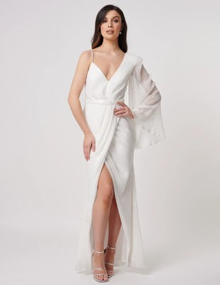 White Sequin One Sleeve Maxi Dress with Thigh Split