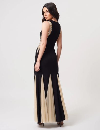 Black Jewell Embellished Maxi Dress with Tulle Inserts
