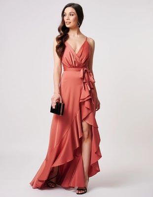 Rust Satin Maxi Dress with Ruffle Detailing