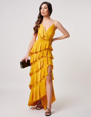 Yellow Layered Ruffle Maxi Dress