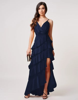 Blue Layered Ruffle Maxi Dress