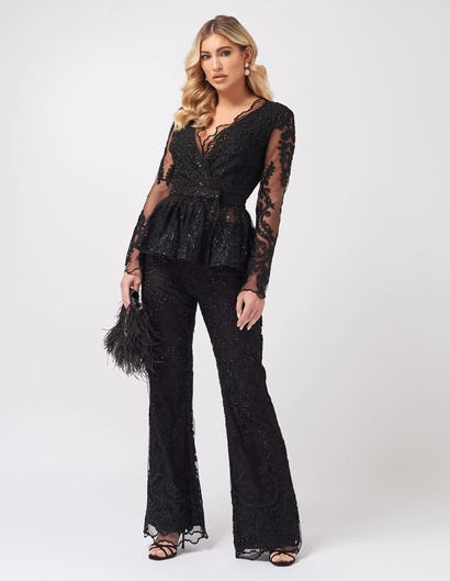 Black Lace Embroidered Wrap Top with Ruffled Peplum Hem