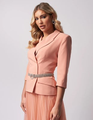 Pastel Pink Blazer Jacket with Diamante Waist Belt