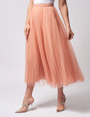 Pastel Pink Pleated Tulle Midi Skirt