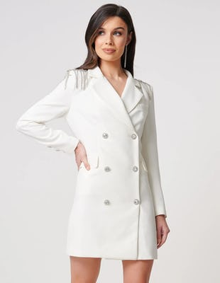 Ivory Blazer Mini Dress with Embellished Shoulders