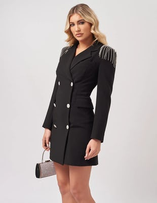 Black Blazer Mini Dress with Embellished Shoulders