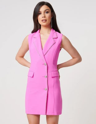 Fuchsia Sleeveless Mini Blazer Dress