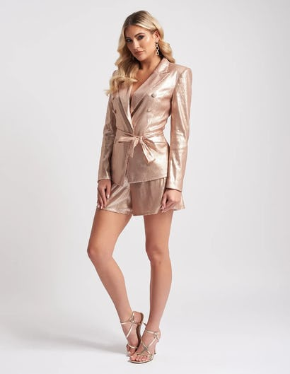 Nude Sequin Blazer Jacket with Tie Waist Belt