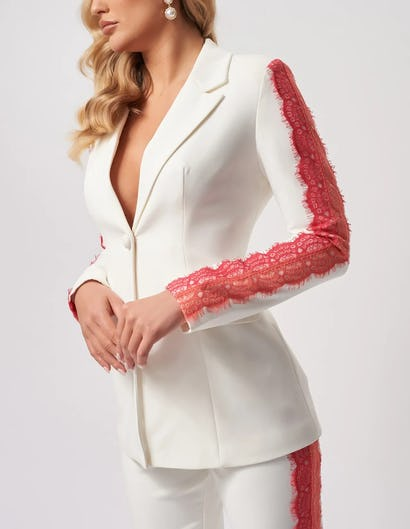 Ivory Suit Jacket with Coral Lace Detailing