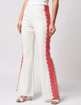 Ivory Wide Leg Trousers with Coral Lace Detailing