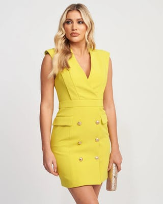 Lime Blazer Dress with Gold Button Detail