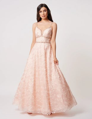 Blush Embellished Maxi Dress with Beaded Detailing