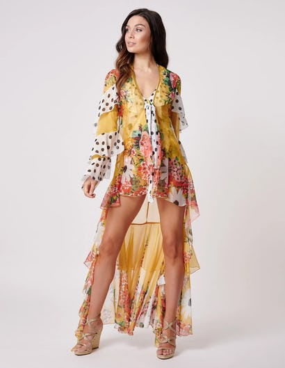Yellow Spotted Floral Print Ruffle Kaftan