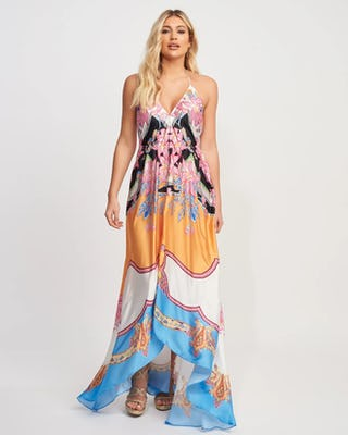Multi-Coloured Paisley Print Asymmetric Beach Maxi Dress