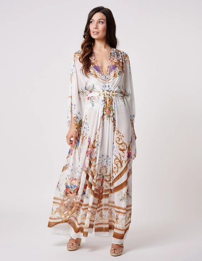 White and Gold Baroque Print Kaftan with Belt Detailing